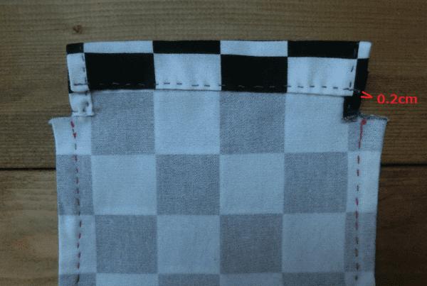 コップ袋⑨ 口を縫う