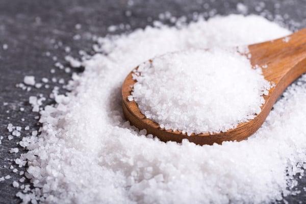 sea salt in a wooden spoon
