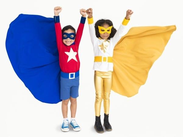 Superhero Kids Hands Up Flying Concept