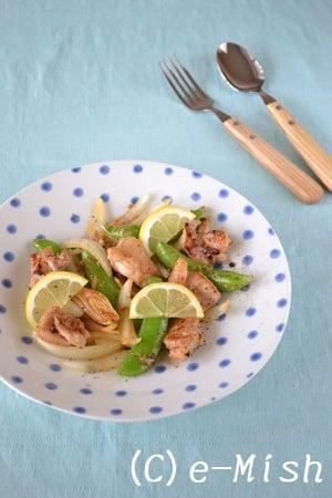 鶏肉とスナップえんどうの塩糀レモン炒め