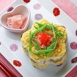 春色*花型押し寿司。