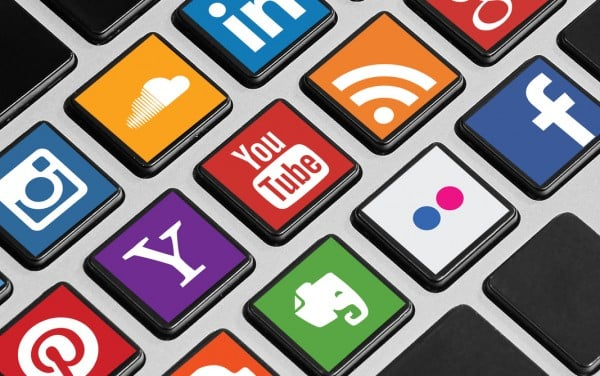 Keyboard buttons with social media icons