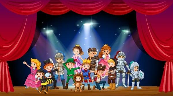 Children wearing costume on stage